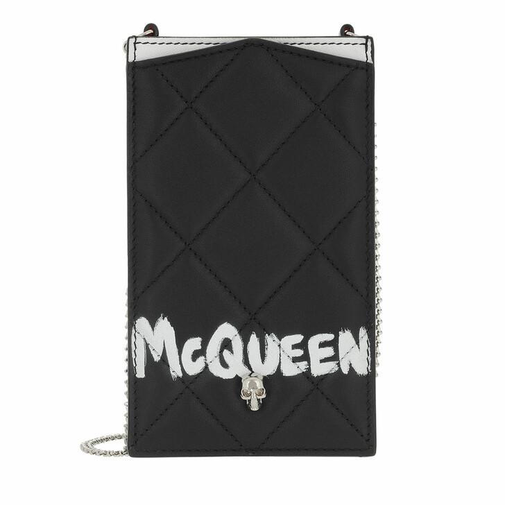 bags, Alexander McQueen, McQueen Graffiti Chain Phone Case Black Ivory
