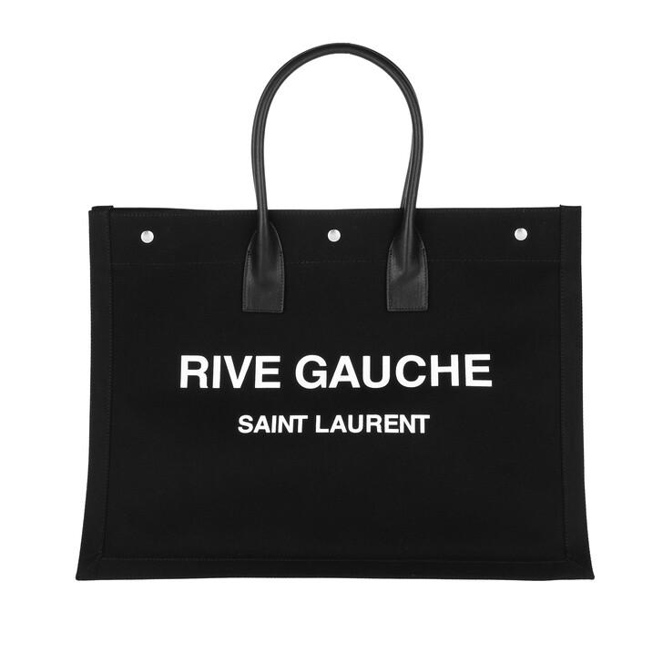 bags, Saint Laurent, Medium Cabas Tote Bag Black/White