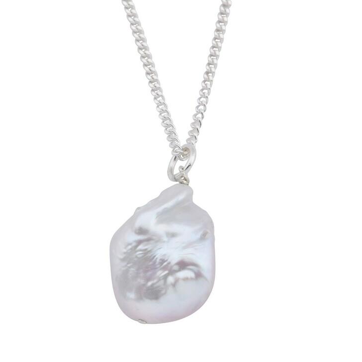 Kette, LLR Studios, Medium Figaro X Baroque Pearl 50cm Necklace Silver