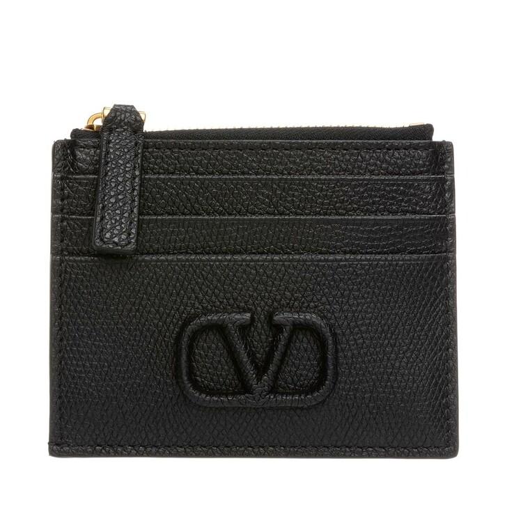 Geldbörse, Valentino, V Logo Coin And Credit Card Case Leather Black