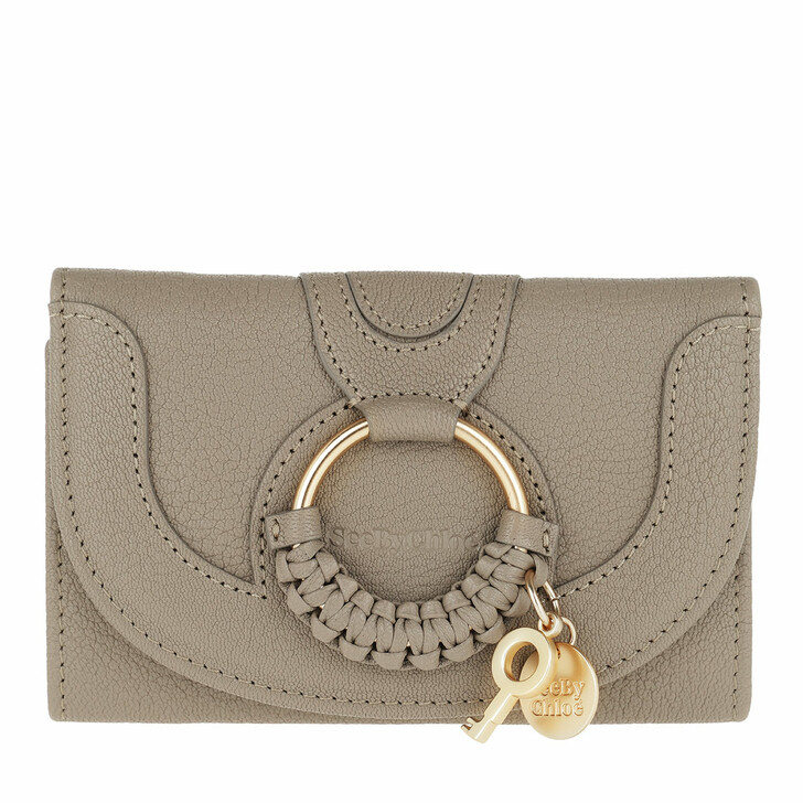 wallets, See By Chloé, Hana Wallet Leather Motty Grey