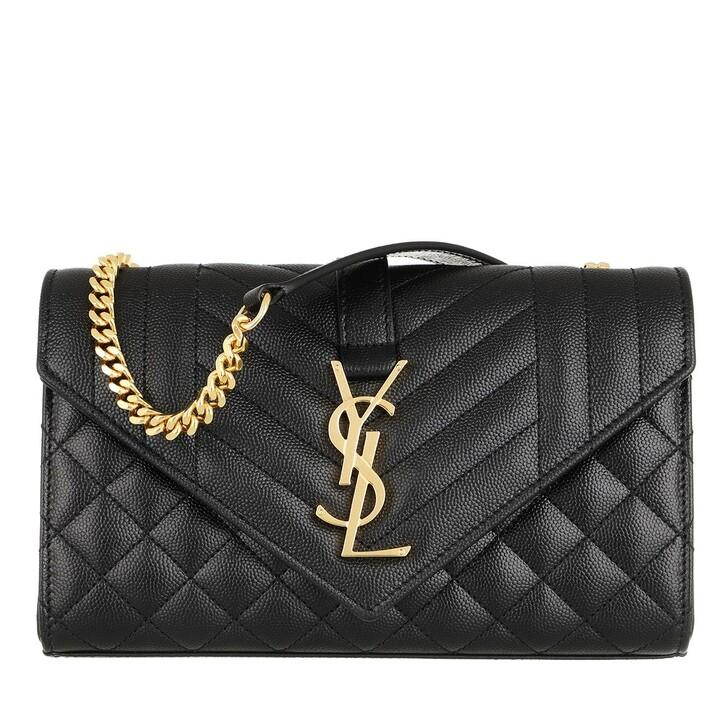 Handtasche, Saint Laurent, Small Monogramme Envelope Bag Black