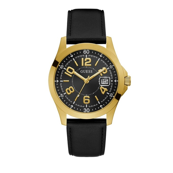 Uhr, Guess, Mens Sport Genuine Leather Watch Black