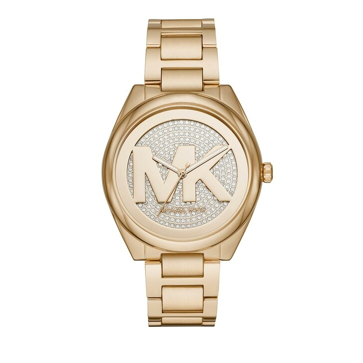 watches, Michael Kors, Women's Janelle Three-Hand Stainless Steel Gold