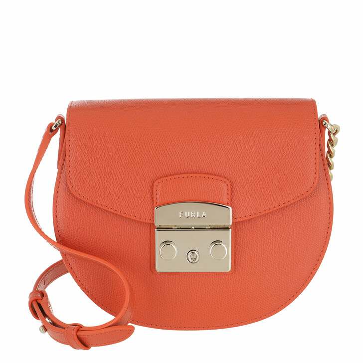 bags, Furla, Metropolis Mini Crossbody Round - Ares Tangerine