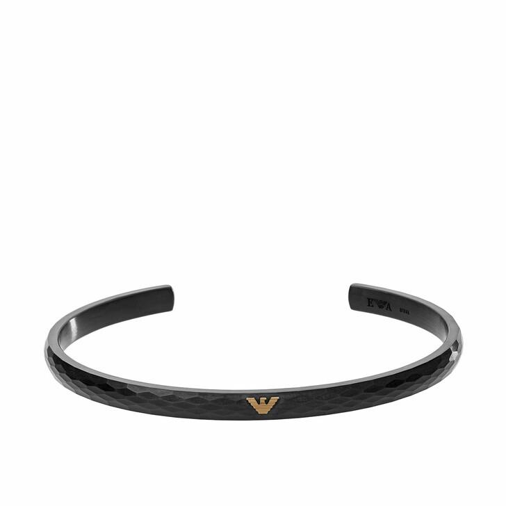 Armreif, Emporio Armani, Men Stainless Steel Cuff Bracelet Black