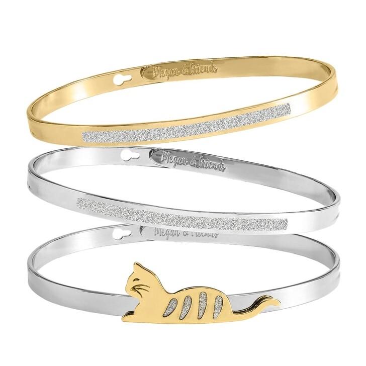 Armreif, Megan & Friends, Bangle Set Cat  Silver/Gold