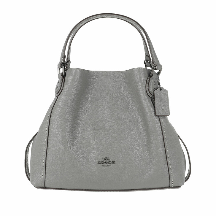 bags, Coach, Polished Pebble Leather Edie 28 Shoulder Bag Heather Grey