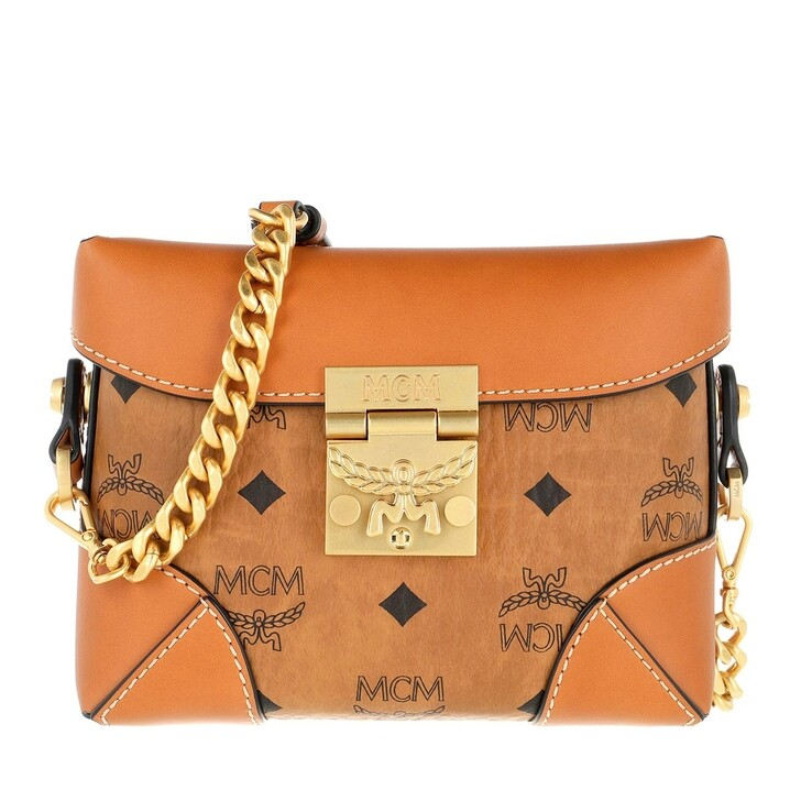 Handtasche, MCM, Soft Berlin Visetos Belt Bag Small   Cognac
