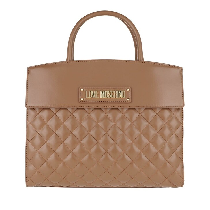 Handtasche, Love Moschino, Handbag Quilted Faux Leather Camel