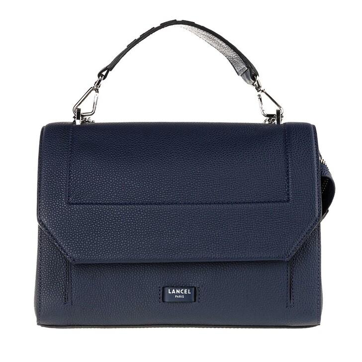 Handtasche, Lancel, Ninon Grained Leather Flap Bag Large Petrol Blue