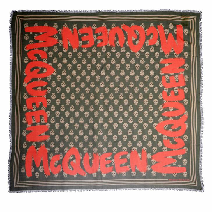 scarves, Alexander McQueen, Logo Shawl Loden/Beige