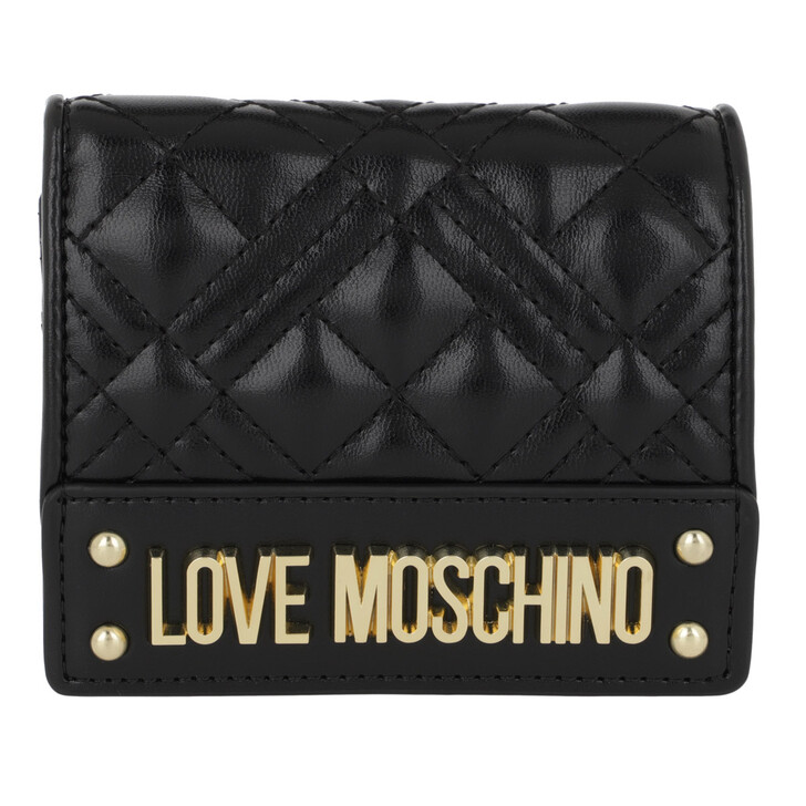 Geldbörse, Love Moschino, Portafogli Quilted Nappa Wallet Nero