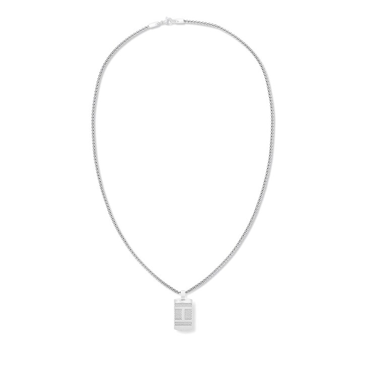 Kette, Tommy Hilfiger, texture flag dog tag Necklace Silver