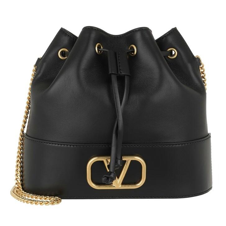 Handtasche, Valentino Garavani, V Logo Bucket Bag Leather Black