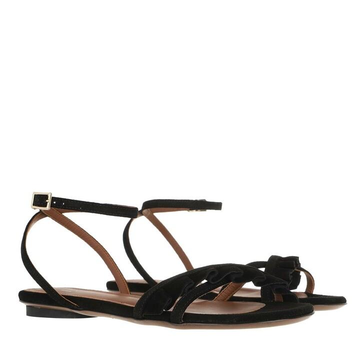Schuh, L´Autre Chose, Flat Sandals Calf Suede Black