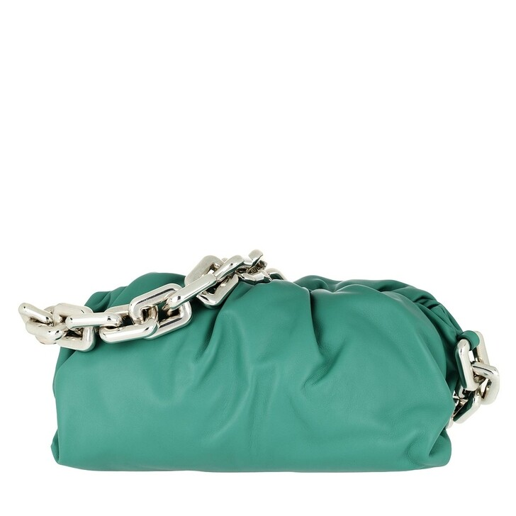 bags, Bottega Veneta, The Chain Medium Pouch Leather Green Water