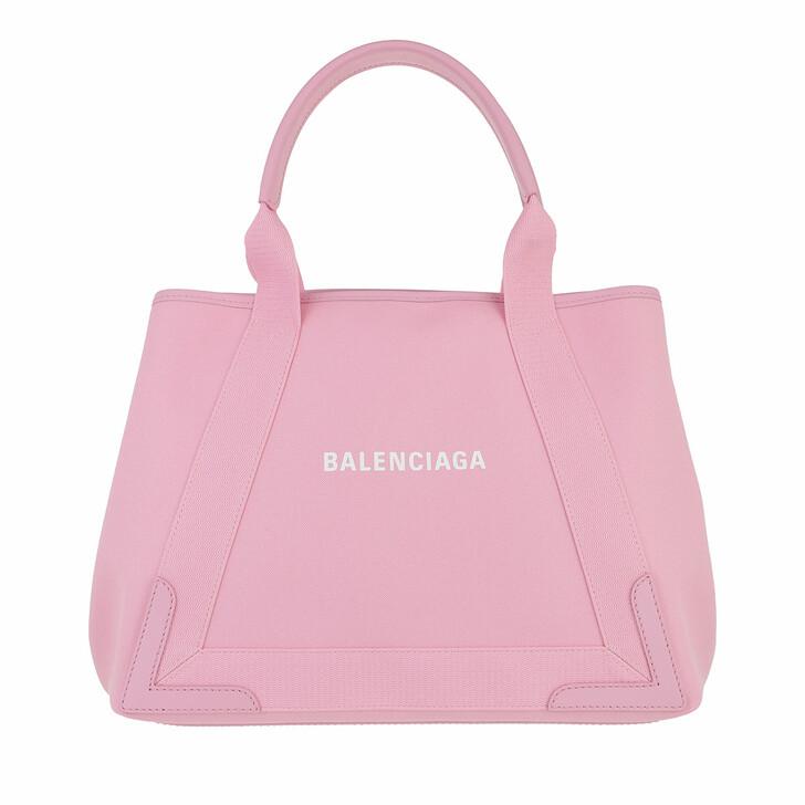 bags, Balenciaga, Medium Navy Cabas Tote Bag Rose