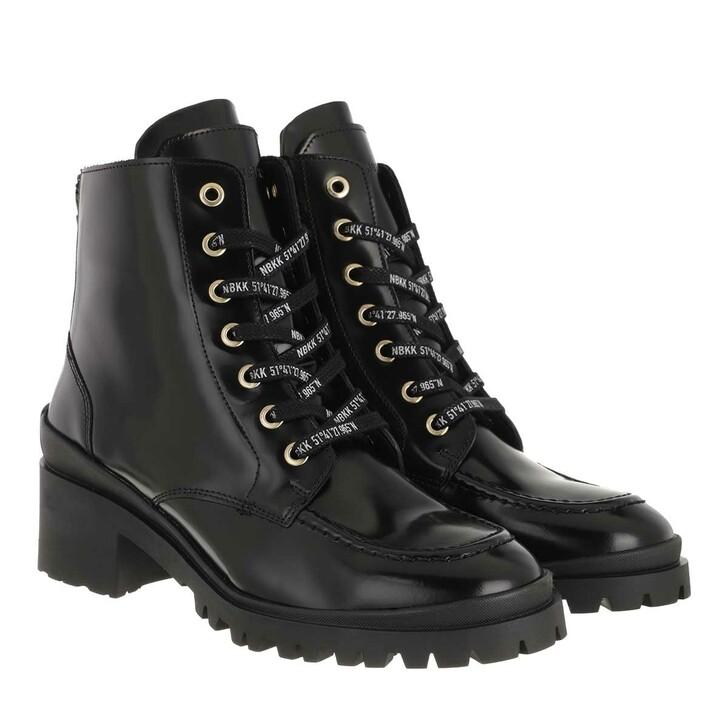 shoes, Nubikk, Jane Velas Ladies Ankle Boot Black Mirror Leather