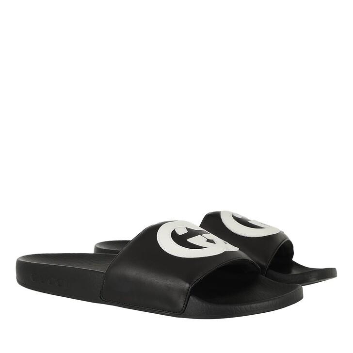 Schuh, Gucci, Interlock GG Slide Sandal Leather Black/White