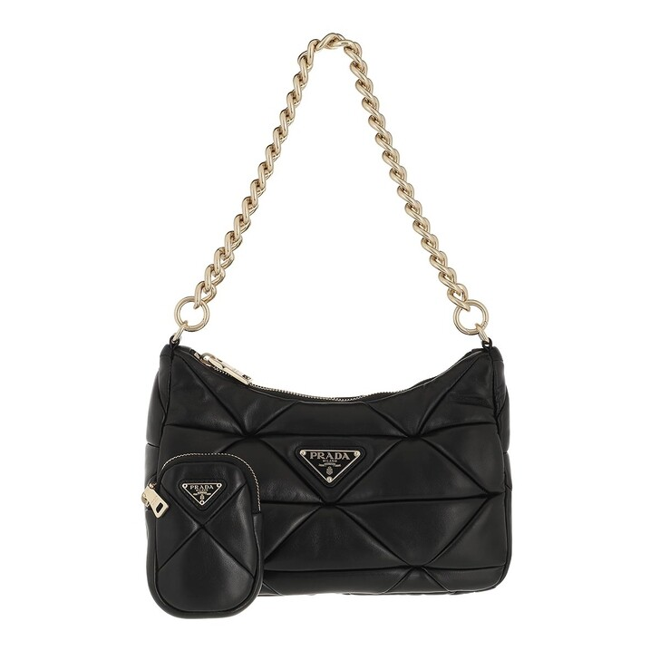 bags, Prada, Prada System Patchwork Shoulder Bag Nappa Leather Black