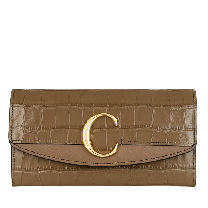 wallets, Chloé, C Continental Wallet Leather Army Green