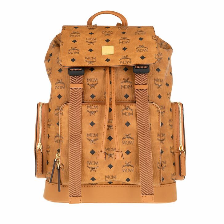 bags, MCM, Brbg Visetos Backpack Mediumium Cognac