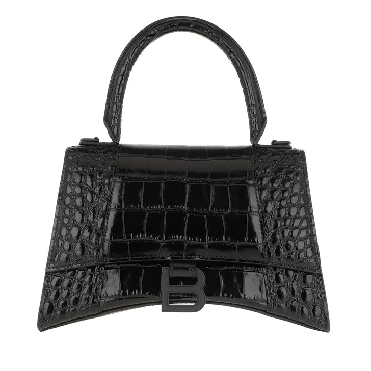 Handtasche, Balenciaga, Hourglass Embossed Top Handle Bag Leather Black