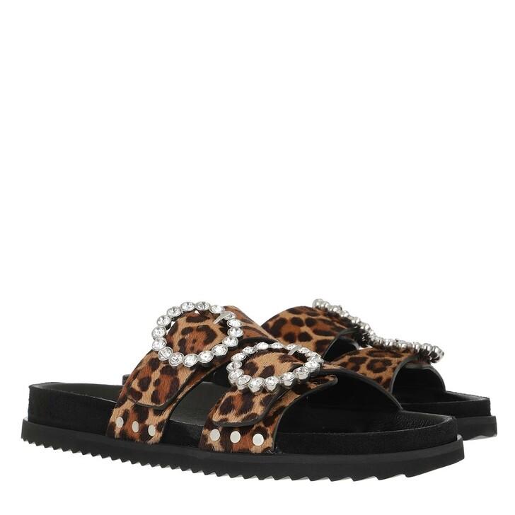 Schuh, Toral, Crystal Embellished Leo Print Slides Leopard Camel