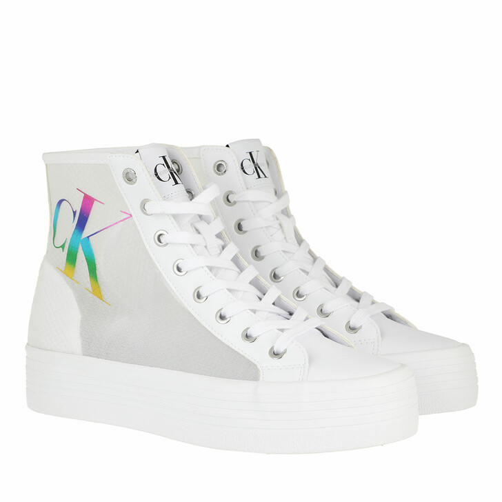 Schuh, Calvin Klein, Vulcanized High Lace Up Sneakers White