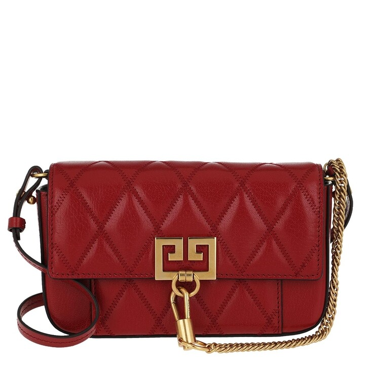 bags, Givenchy, Mini Pocket Bag Diamond Quilted Leather Vermillon