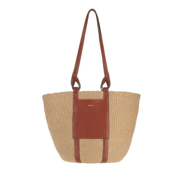 bags, Chloé, Mifuko Logo Straw Shopper Sepia Brown