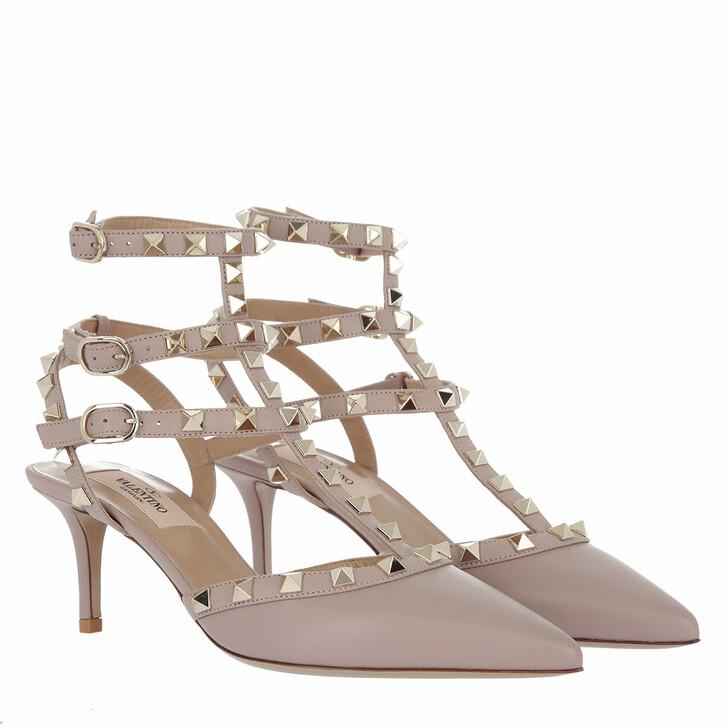 Schuh, Valentino, Rockstud Ankle Strap Pumps Powder