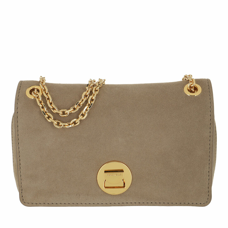 bags, Coccinelle, Liya Handbag Suede Leather New Taupe
