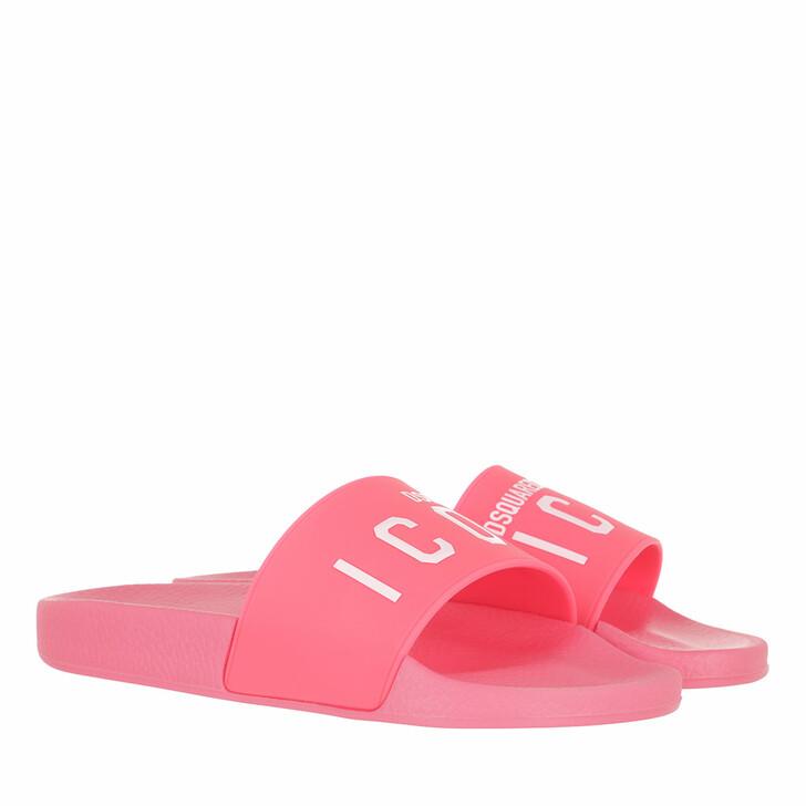 shoes, Dsquared2, Logo Print Slides Rosa