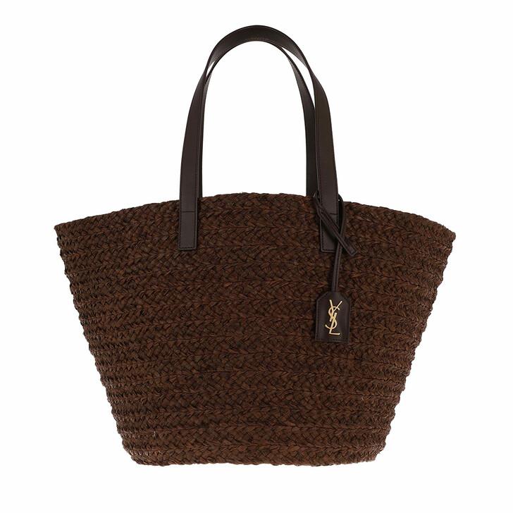 bags, Saint Laurent, Medium Panier Bag Raffia Brown