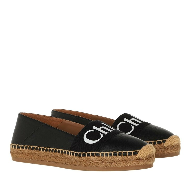 Schuh, Chloé, Woody Espadrille Leather & Canvas Black