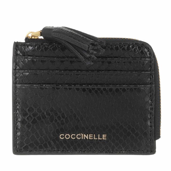 wallets, Coccinelle, Tassel Snake Document Holder Noir