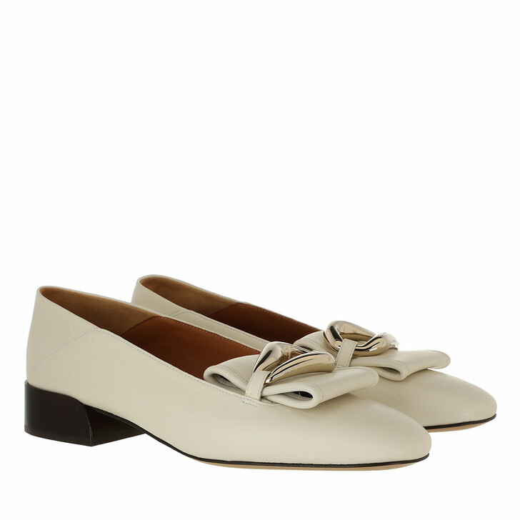 shoes, Chloé, Flat Loafers Leather White