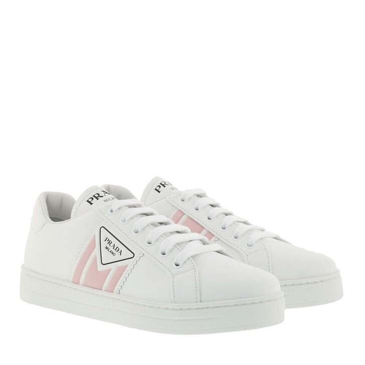 shoes, Prada, Leather Sneakers White Peach