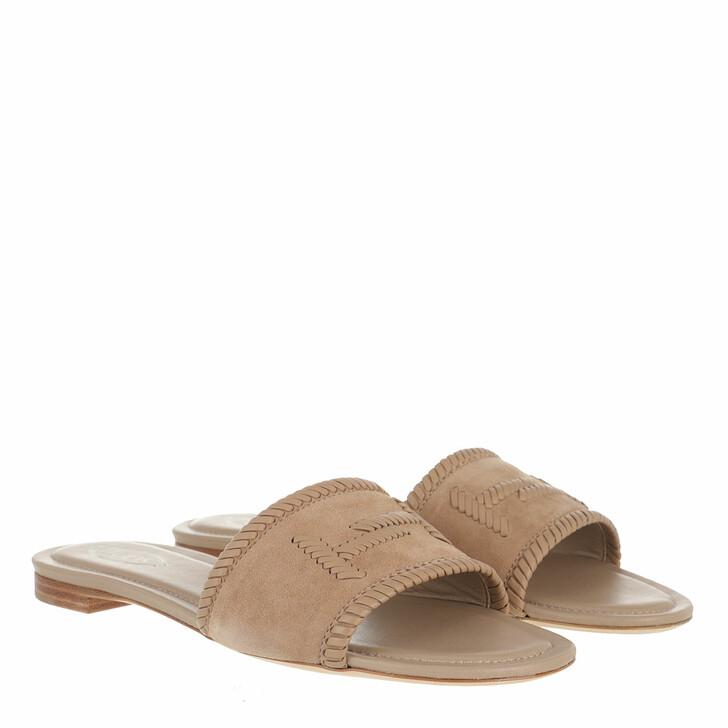 Schuh, Tod's, Logo Detail Slide Sandal Suede Cappucino