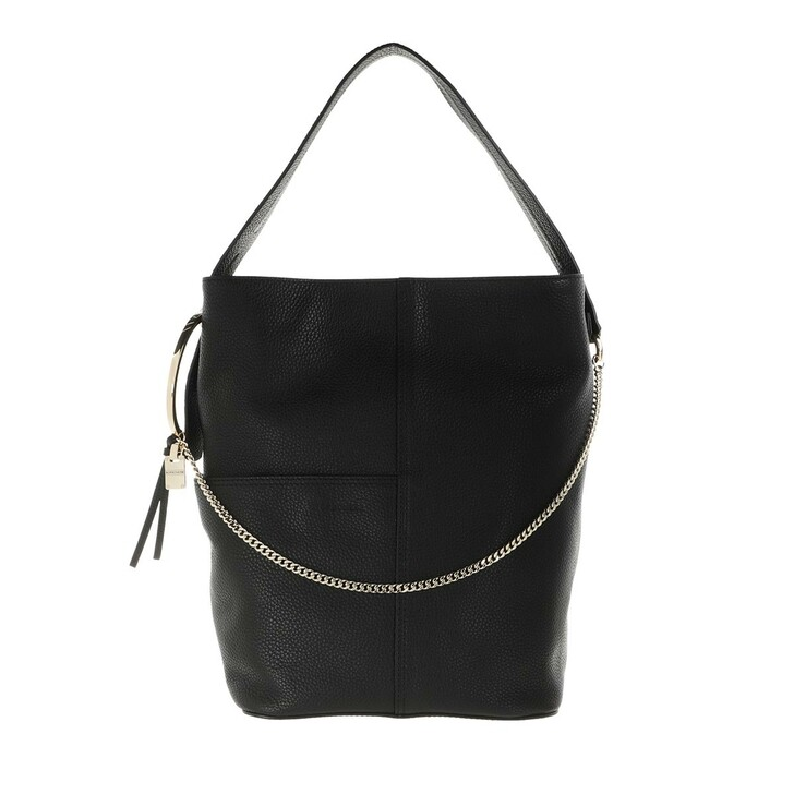 Handtasche, Borbonese, Medium Etoile Bucket Bag Black