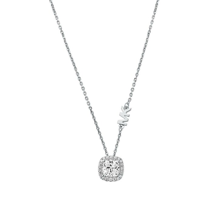 Kette, Michael Kors, Brilliance Sterling Silver Cushion Cut Necklace Silver