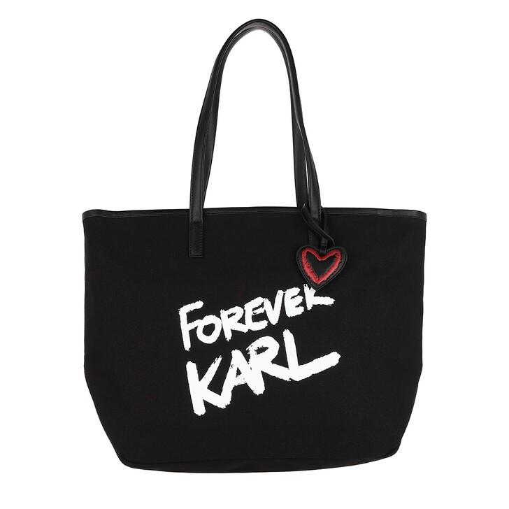Handtasche, Karl Lagerfeld, Forever Canvas Shopping Bag Black