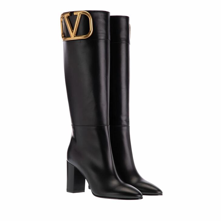 Schuh, Valentino Garavani, Super V Logo Boots Leather Black