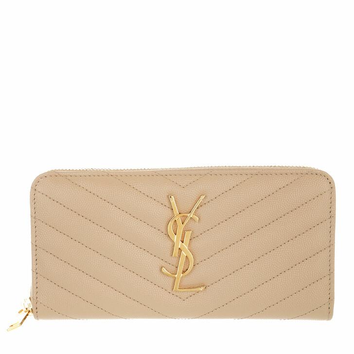 wallets, Saint Laurent, Monogramme Grain De Poudre Zip Around Wallet Dark Beige
