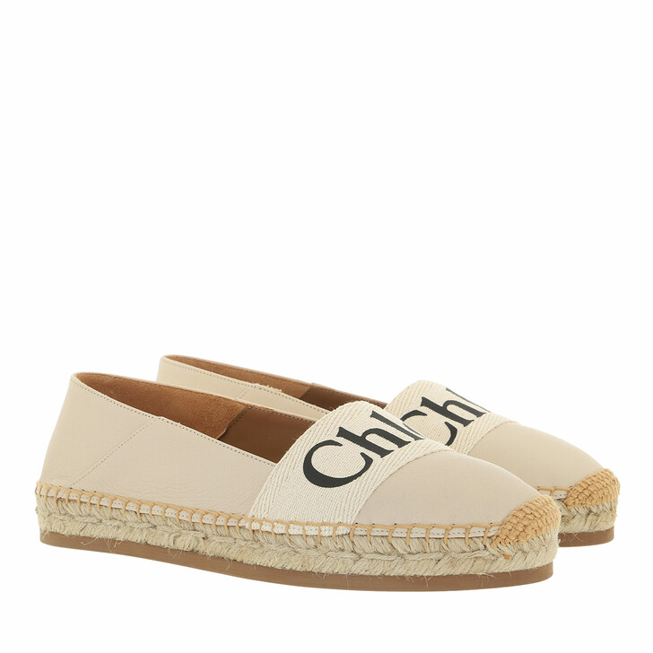 shoes, Chloé, Woody Espadrille Flat Leather Canvas Soft White