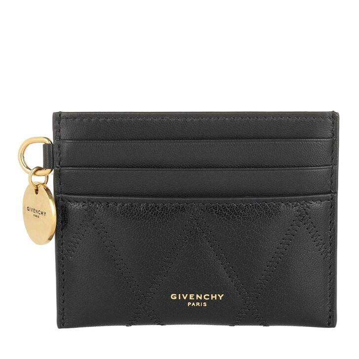 Geldbörse, Givenchy, GV3 Card Holder Diamond Quilted Leather Black