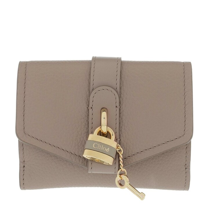 Geldbörse, Chloé, Aby Tri-Fold Wallet Calf Leather Motty Grey