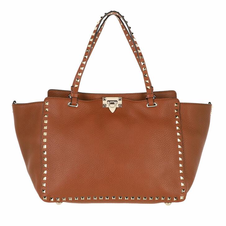 bags, Valentino Garavani, Rockstud Shopping Bag Cognac